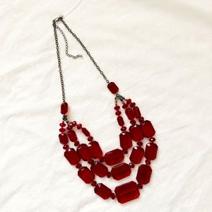 Wine Red Gemstone Triple Layer Chain Stmt Necklace